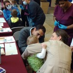 Some children with their parents had their first meeting with dental professionals.